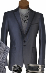 Angelino Rio Grey Black Trim Blazer