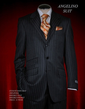 Angelino Grey with White pinstripe Suit
