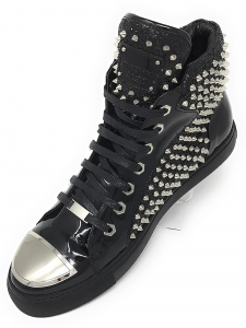Angelino H.Spike Black Hightop Sneakers