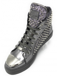 Angelino H.Spike Silver Hightop Sneakers