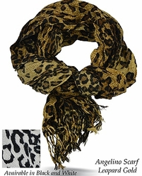 Angelino Leopard Gold Scarf