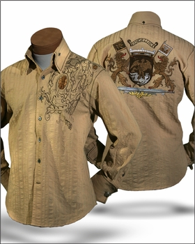 ANGELINO LION HIGH COLLAR SHIRT -beige  size 5X (19 - 20)