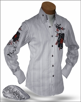 Angelino Lugi White Embroidered High Collar Shirt with matching cap