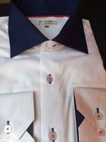 Angelino Navy Collar Spread Collar Shirt 17.5 (2XL)