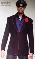 Angelino Navy Red Trim Blazer  48L