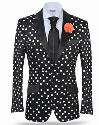 """Blowout Pricing"" Angelino Black White Polka Dot3 Blazer  46L"