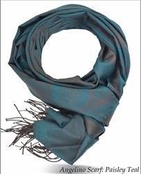 Angelino Paisley Teal Scarf