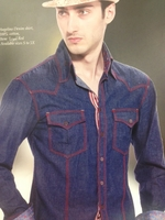 Angelino Rainbow Royal Red Denim High Collar Shirt size XL