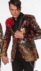 Blowout- Angelino Red Gold Silver Black Sequin Blazer 40L