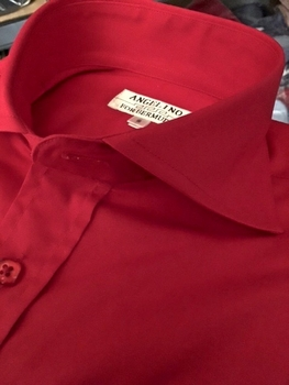 Angelino Red Spread Collar Shirt