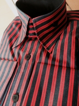 Angelino Rhumba Red Black High Collar Shirt