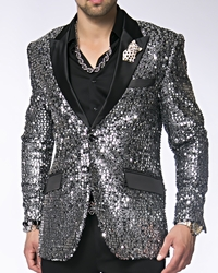 Angelino Sico Silver/Black Sequin Blazer -Special Order (7 colors)