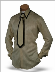 Angelino Silk  Shirt Tie set -butter Special order size16