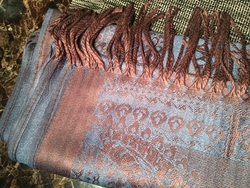 Angelino Teal Brown Scarf
