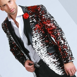 Angelino White Black Red Fade Sequin Blazer - (special order)