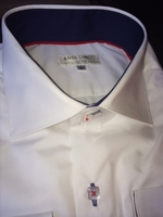 Angelino White Blue Trim Spread Collar Shirt