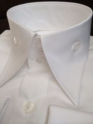New Angelino White Cotton High Collar Shirt