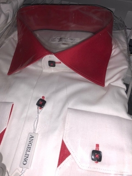 Angelino White Red Spread Collar Shirt 3XL(fits like 2XL)
