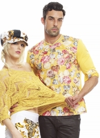 Angelino Yellow Flower Vneck Long Sleeve floral Shirt size L