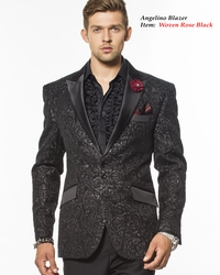 Angelino Woven Rose Black Blazer -special order