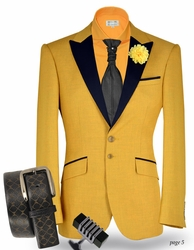 Angelino Yellow Black Trim Tux Blazer(special-order) 46L