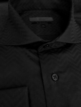 Axxess Black Herringbone Pattern Spread Collar Shirt