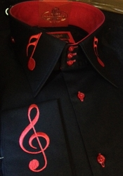 Axxess Black Red Music Note High Collar Shirt