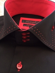 Axxess Black Red Stitch Spread High Collar Shirt