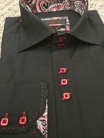 Axxess Black Red Stitch 2 Button Shirt size L(16- 16.5)