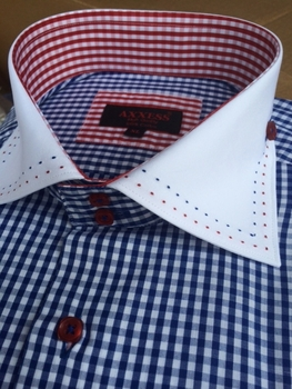 Axxess Blue Gingham High Collar Shirt size 4XL (20 - 20.5)