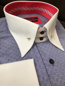 Axxess Blue Pattern Tie Pin High Collar Shirt 3XL(19 - 19.5)