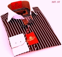 Axxess Brown White Stripe High Collar Shirt size S (14.5 - 15)
