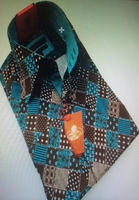 Axxess Brown Aqua Box Pattern High Collar Shirt size 2XL (18 - 18.5)