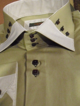 Axxess Dark Khaki Spread High Collar Shirt Size 4XL (20 - 20.5)