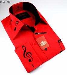 Axxess Red Black Embroidered Music Note High Collar Shirt