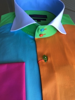 Axxess Multicolor Spread Collar Shirt L(16 - 16.5)