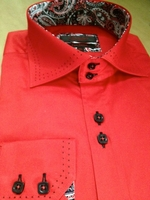 Axxess Red Black Stitch 2 Button Collar Shirt L(16- 16.5)