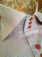 Axxess Sky Orange  Check High Collar Shirt size S (14.5 - 15)