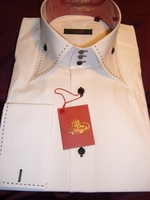 Axxess White with Black Single Stitch High Collar Shirt Small (14.5 -15)