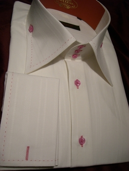 Axxess White with Pink Stitching High Collar Shirt XL(16.5-17)