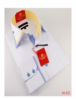 Axxess White Yellow Sky Blue Collar Shirt S (14.5 - 15)