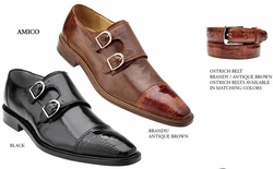 Belvedere Amico Italian Ostrich and Calfskin Shoes