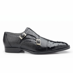 Belvedere Cotto Ostrich Double Monk Strap Shoes Black