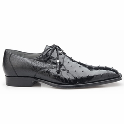 Belvedere Isola Ostrich Quill Dress Shoes Black
