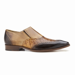 Belvedere Lucas Crocodile & Calfskin Wingtip Shoes Brown / Camel / Tab