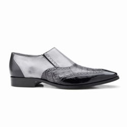 Belvedere Lucas Crocodile & Calfskin Wingtip Shoes Dark Gray / Gray /