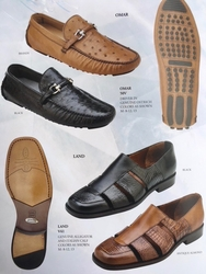 Belvedere Omar Ostrich and Belvedere Land Alligator Calfskin Shoes