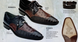 Belvedere Roberto Ostrich and Crocodile Shoes