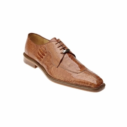 Belvedere Siena Ostrich Lace Up Shoes Burned Amber