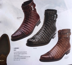 Belvedere Libero  Alligator Quilted Leather Boots